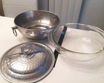 Fabulous Vintage Hammered Aluminum Pyrex Casserole Dish -- three pieces -- Mid Century