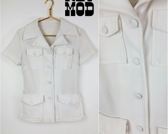Iconic Vintage 70s White Safari Leisure Suit Top with Pockets!