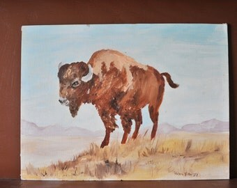 Buffalo Bison Painting, Wildlife Painting, Animal Painting, Wild West, Southwestern Art, Buffalo Art, Wildlife Painting