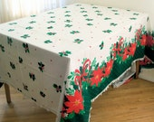 Vintage 1970s Poinsettia, Bows and Holly Christmas Tablecloth