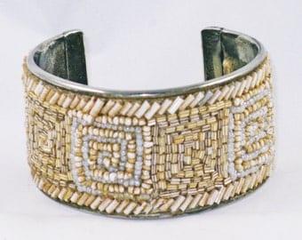 Vintage Beige Neutral Glass Beaded Cuff Bracelet (BR-3-3)