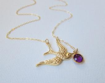Gold Swallow Bird Necklace, February Birthstone Necklace, Bird with Amethyst Crystal, Gold Bird Necklace, Gold Birthstone Necklace February