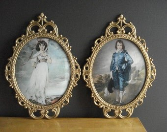 Two Large Gold Oval Frames - Vintage Metal Picture-Surrounds - Ornate Convex Glass Frames - Pinkie and the Blue Boy