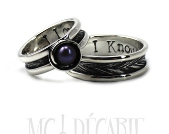 His and Hers: ring band set, one with a pearl, 2 engravings and textures included on each ring, wedding bands, promise rings, engagement