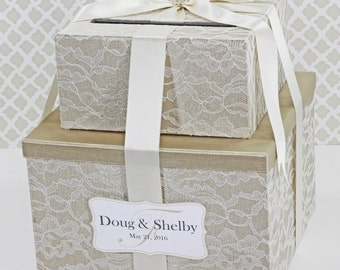 2 tier lace wedding card box champagne gold ivory customizable money holder