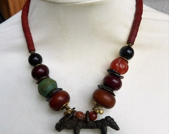 African Bull Sculpture Necklace, Hebron Beads,African amber, ancient carnelian, UNIQUE
