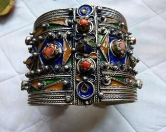Antique  Berber Coral and Silver Enamel Bracelet, Beni Yenni, Kabylia,   248 g,