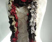 SALE - patchwork PETAL scarf by FAIRYTALE13 - Deep Red, Taupe, chocolate, pleated cream, gold and vintage inspired lace fabrics.