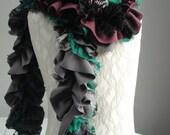 SALE - girls MINI Patchwork PETAL textured scarf by Fairytale13 - grey green purple black - Handmade in the Uk.