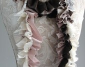 SALE - patchwork petal SCARF by FAIRYTALE13 - antique pink, greys, taupe, chocolate and lace.