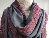 SALE - Large grey INFINITY Scarf edged in plumb/purple lace fabric by FAIRYTALE13 - new design.