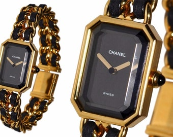 CHANEL Paris Premier Watch 18K Gold Plated Chain Link Wristwatch with Lambskin Leather Details and Onyx Cabochon Crown Large L Swiss Made