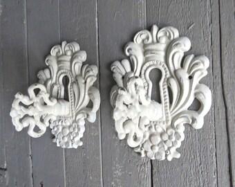 Shabby Cottage Hooks, Ornate Key Hooks, Vintage Inspired, Fancy Hooks, Towel Coat Hook, Ivory Key Hooks, French Cottage, Paris Apartment