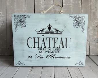 Paris Luggage Box, Vintage Card Box, Paris Script, French Cottage, Rustic Chateau, Shabby and Chic, Cottage Chic, Aqua Home Decor, Prop