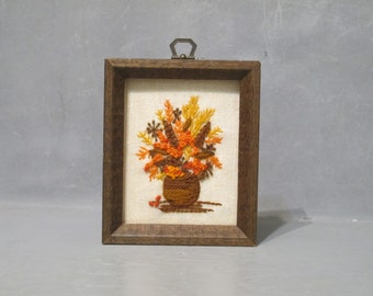 Vintage Wooden Shadow Box with Flowers in Vase Embroidery / Small Wood Frame with Fall Colors Needlework, Autumn Home Decor Wall Hanging