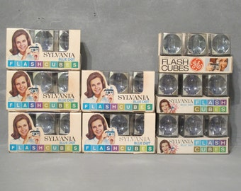 Vintage 2 Packages with 6 Flash Cubes Sylvania Blue Dot Flashcubes and GE General Electric NOS Camera Accessory Photo Prop Recycle Upcycle