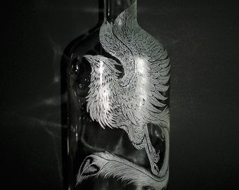 Freehand Engraved Phoenix on Recycled Bottle