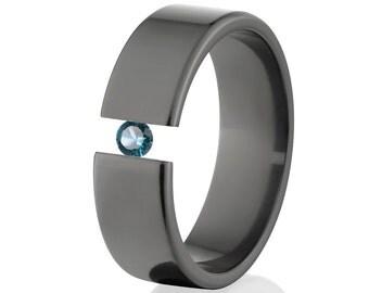 Tension Set Ring, Uniquely You, Black Zirconium, Blue Topaz -  BZ-7F-P-Tension