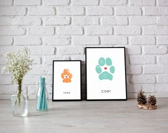 Personalized Dog Paw Print Pet Gift Memorial Custom Cat Pawprint Artwork Dog Mom Gift Pet Owner Poster with Puppy or Kitty Paws