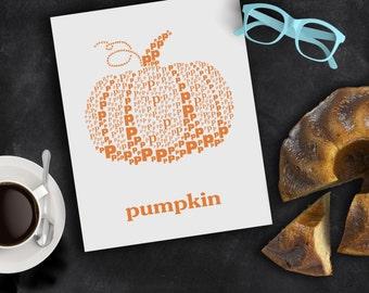 Pumpkin Fall Decor Autumn Decorations Modern Alphabet Typography Art Letter P Pumpkin Orange Wall Poster Halloween or Thanksgiving