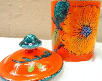 Mid Century Bitossi Italian Pottery Lidded Jar