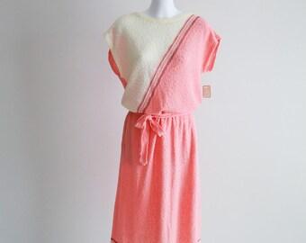 80's Coral Colour Blocked, Boucle Knit Dress NWT- Sz S - M