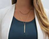 Set of 3 Gemstone Layering Necklace Set- Petite Dangling CZ Necklace, Gemstone Beaded Necklace and Vertical Bar Pendulum Necklace