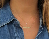 Delicate Modern Bar Necklace, Set of 2 Dainty CZ solitaire Necklace and Engraved Bar Necklaces
