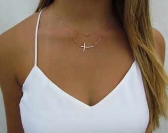 Curved Sideways Cross and Tiny Hammered Ball Necklace Set of 2 Minimal Necklaces, 14k Gold Filled, Sterling Silver, 14k Rose Gold Filled