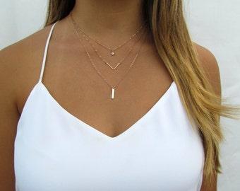 Delicate Necklace SET, CZ Solitaire Necklace, Hammered Chevron Necklace, Tiny Bar Necklace 14kt Rose Gold Filled, 14kt Gold Filled, Sterling