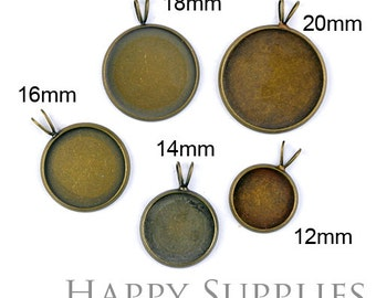 10Pcs High Quality Antique Bronze Brass 12mm / 14mm / 16mm / 18mm / 20mm Cabochon Pendant Base With Loop (05513)