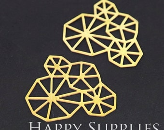 Exclusive - 4pcs Raw Brass Geometry Charm / Pendant, Fit For Necklace, Earring, Brooch (RD262)