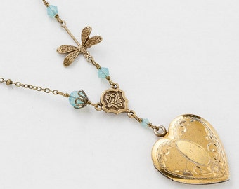 Vintage Heart Locket Necklace, Gold Filled Locket, Photo Locket, Flower Etched with Blue Opal Crystal & Dragonfly Charm, Heart Pendant 3046