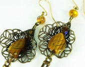 Antique Brass and Golden Tiger Eye Long Dangle Earrings