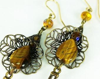 Antique Brass and Golden Tiger Eye Long Dangle Earrings