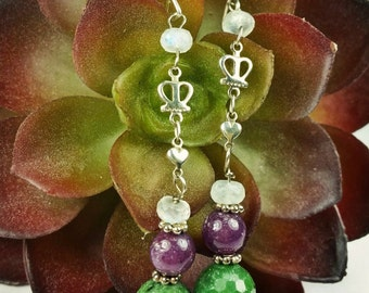 Claddagh Earrings in Ruby, Moonstone, and Ruby Zoisite