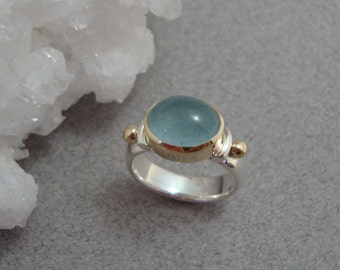 Aquamarine Ring in 18k Gold and Sterling Silver, Ice Blue Cabochon Ring, March Birthstone