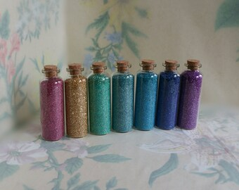 Authentic German Glass Glitter One 1.5 oz Glass Vial with Cork Stopper