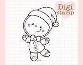 Gingerbread Santa Digital Stamp - Gingerbread Digi Stamp - Digital Christmas Stamp - Gingerbread Art - Christmas Digital Stamps - Coloring