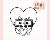 Monster Cookie Digital Stamp - Monster Stamp - Digital Monster Stamp - Valentine Art - Valentine Card Supply - Monster Craft Supply