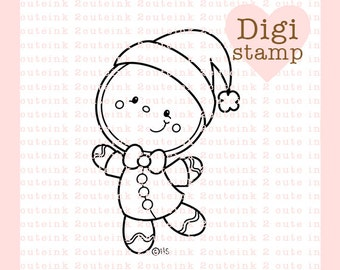 Gingerbread Santa Digital Stamp - Gingerbread Digi Stamp - Digital Christmas Stamp - Gingerbread Art - Christmas Digital Stamps - Coloring