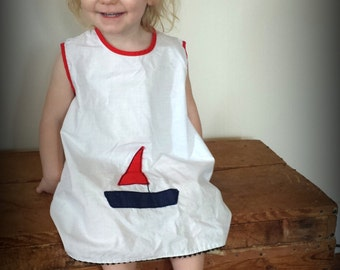 Vintage Summer Frock Dress. Size 2T/3T. Nautical, Sailboat, Red White and Blue, 4th of July Shift Dress for Baby Girl.