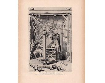 1900 ASTRONOMICAL QUADRANT print original antique celestial astronomy lithograph - astronomical instruments - celestial machine