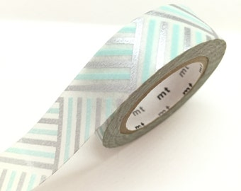 Silver baby blue Washi Tape Masking Tape gift wrap Pretty Tape Planner Tape Art Journaling