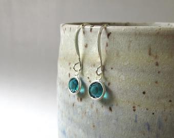Mia Earrings - Swarovski Crystals in Aqua, in Silver Settings