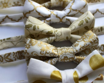 Little and Big Guy BOW TIE - Shimmering Holiday Collection - Gold - (Newborn-Adult) - Baby Boy Toddler Teen Man - Christmas