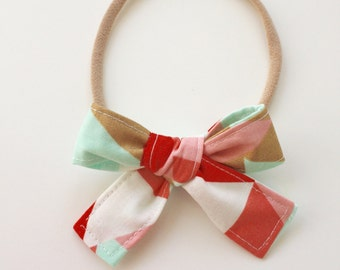 Petite Peanut Bitty Bow Headband - Multi Geometric Blush Pink Mint Coral Gold - Baby Girl Toddler - (Made to Order) -Spring Summer Wedding