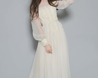Vtg 60s 70s Sultry Cream Sheer Lace Wedding Hippie Boho Bohemian Bow Victorian Maxi Belted Dress XS