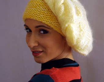 Yellow Winter Beanie Hand knitted Hat,Woman slouch beret,Slouchy hat, slouch beret hat,Cable beret beanie,Perfect gift for her,oversized hat
