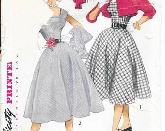 SIMPLICITY 3802 Size 14 Bust 32 Full Circle Skirt Dress Jumper Bolero Jacket Dickey Vintage 1950's Pattern